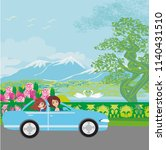 family traveling in a car | Shutterstock .eps vector #1140431510