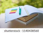 open notebook  pen  pencil on a ... | Shutterstock . vector #1140438560