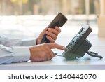 communication support concept ... | Shutterstock . vector #1140442070