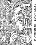 coloring pages for adults  girl ... | Shutterstock . vector #1140442163