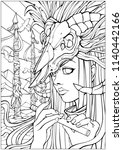 coloring pages for adults  girl ... | Shutterstock . vector #1140442166