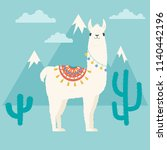 cute cartoon llama in... | Shutterstock .eps vector #1140442196