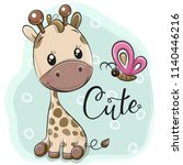 Cute Cartoon Giraffe And...