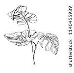 tropical plant illustration.... | Shutterstock .eps vector #1140455939