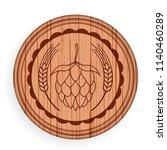 round wooden signboard. beer... | Shutterstock .eps vector #1140460289