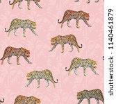 illustration going leopard pink ... | Shutterstock .eps vector #1140461879