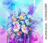 abstract floral oil color... | Shutterstock . vector #1140462089