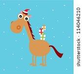 merry christmas horse... | Shutterstock .eps vector #114046210