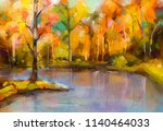 oil painting colorful autumn...   Shutterstock . vector #1140464033