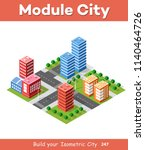 colorful 3d isometric city | Shutterstock . vector #1140464726
