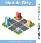 colorful 3d isometric city | Shutterstock . vector #1140464819