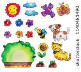 pet garden elements watercolor...   Shutterstock . vector #1140481490