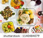 setting table traditional... | Shutterstock . vector #1140484079