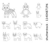 toy animals outline icons in...   Shutterstock . vector #1140487196