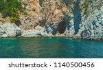 turkey  aegean sea and mountain ... | Shutterstock . vector #1140500456