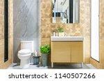 modern spacious bathroom with... | Shutterstock . vector #1140507266