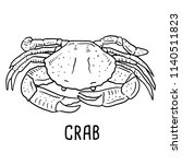 hand drawn illustration of crab. | Shutterstock .eps vector #1140511823