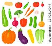 set vegetables  potatoes ... | Shutterstock . vector #1140514049