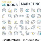 set of vector line icons of... | Shutterstock .eps vector #1140536159
