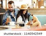 happy tourists having a break...   Shutterstock . vector #1140542549