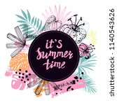 summer card with hand drawn... | Shutterstock .eps vector #1140543626