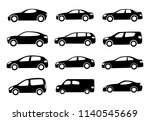 two black car silhouettes on a... | Shutterstock . vector #1140545669