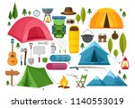 vector set of camping equipment ... | Shutterstock .eps vector #1140553019