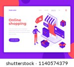 online shopping people and... | Shutterstock .eps vector #1140574379