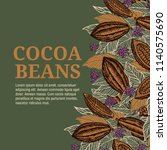 cacao beans plant  vector... | Shutterstock .eps vector #1140575690