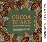 cacao beans plant  vector... | Shutterstock .eps vector #1140575693