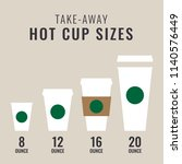 take away hot cup sizes | Shutterstock .eps vector #1140576449