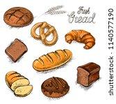 bakery fresh bread collection... | Shutterstock .eps vector #1140577190