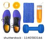 top view of sport accessories... | Shutterstock . vector #1140583166