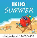 happy tomato relaxes on the... | Shutterstock .eps vector #1140584996