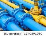 valves at gas plant | Shutterstock . vector #1140591050