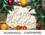 inscription happy holiday with... | Shutterstock . vector #1140598580