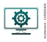gear on computer screen blue... | Shutterstock .eps vector #1140601826