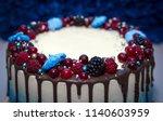 birthday. cake with chocolate... | Shutterstock . vector #1140603959