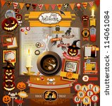 halloween scrapbook elements.... | Shutterstock .eps vector #114061084
