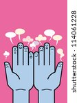 two palms of hands facing the... | Shutterstock .eps vector #114061228