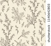 seamless pattern with wormwood  ... | Shutterstock .eps vector #1140642803