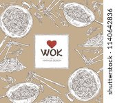 background with wok  chinese... | Shutterstock .eps vector #1140642836