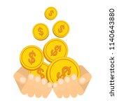 hand catch falling gold money...   Shutterstock .eps vector #1140643880