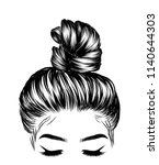 woman with stylish classic bun... | Shutterstock .eps vector #1140644303