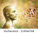 male head with alphabet letters ... | Shutterstock . vector #114064768