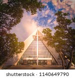 arctic cathedral in tromso ... | Shutterstock . vector #1140649790