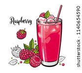 raspberry summer cool drink... | Shutterstock .eps vector #1140654590