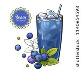 blueberry smoothie in sketch... | Shutterstock .eps vector #1140654593