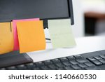 note list paper on computer... | Shutterstock . vector #1140660530