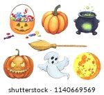 seamless halloween's elements...   Shutterstock . vector #1140669569